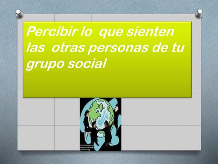 Percibir lo  que sienten  las  otras personas de tu grupo social