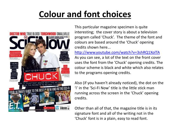Colour and font choices