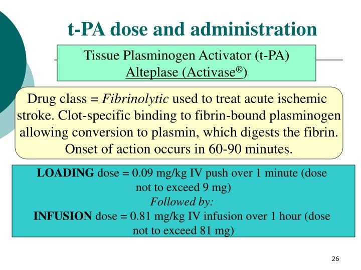 t-PA dose and administration