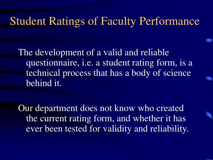 Student Ratings of Faculty Performance