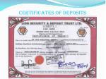 certificates of deposits1