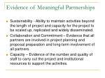 evidence of meaningful partnerships