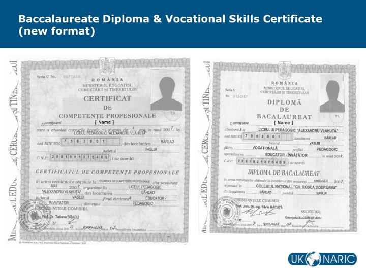Baccalaureate Diploma & Vocational Skills Certificate (new format)