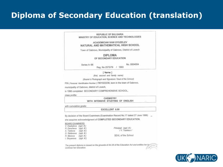 Diploma of Secondary Education (translation)