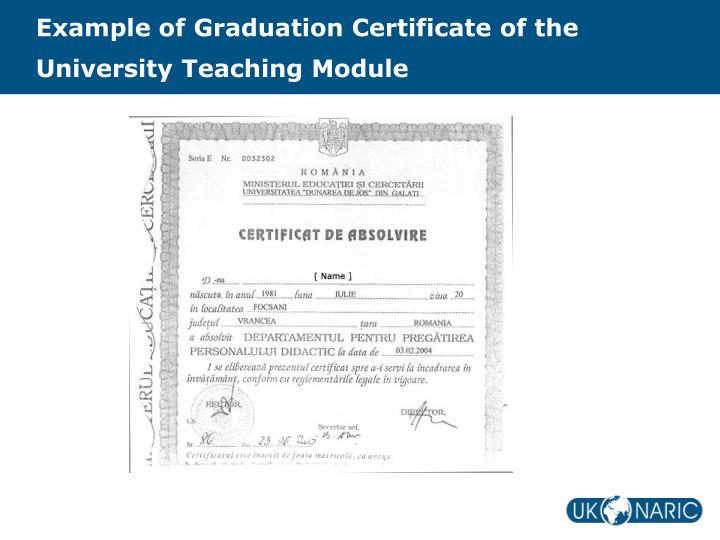 Example of Graduation Certificate of the