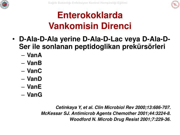 D-Ala-D-Ala yerine D-Ala-D-Lac veya D-Ala-D-Ser ile sonlanan peptidoglikan prekürsörleri