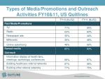 types of media promotions and outreach activities fy10 11 us quitlines