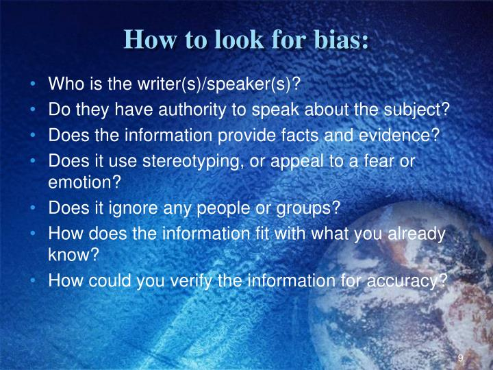 How to look for bias: