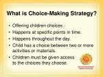 what is choice making strategy