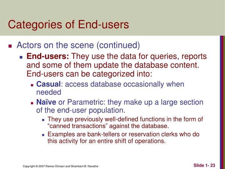 Categories of End-users