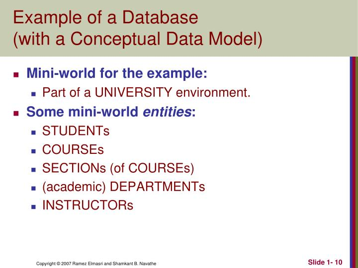 Example of a Database