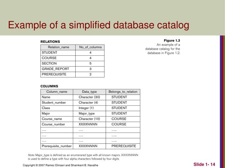 Example of a simplified database catalog