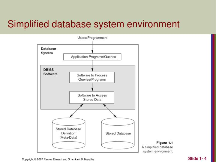 Simplified database system environment