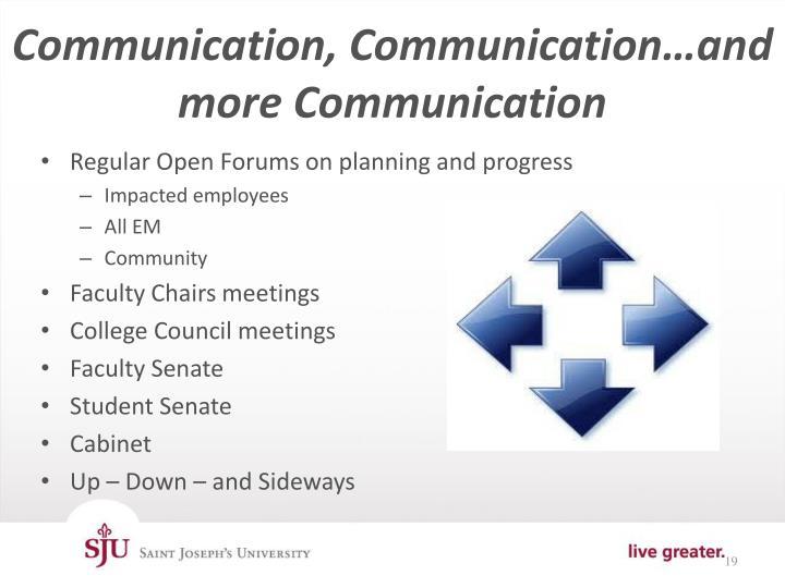 Communication, Communication…and more Communication