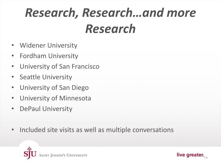 Research, Research…and more Research