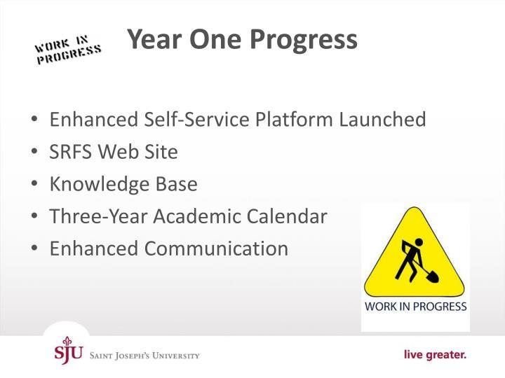 Year One Progress