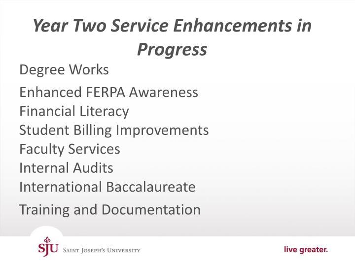 Year Two Service Enhancements in Progress