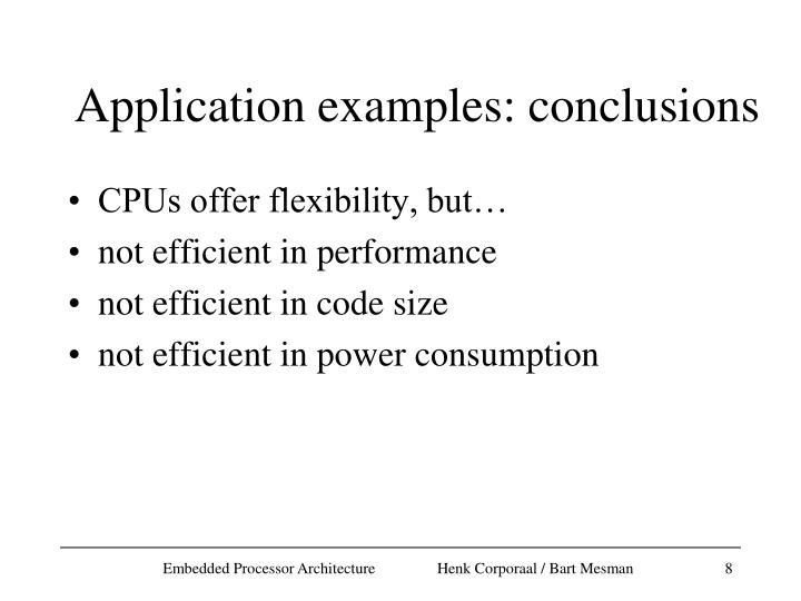 Application examples: conclusions