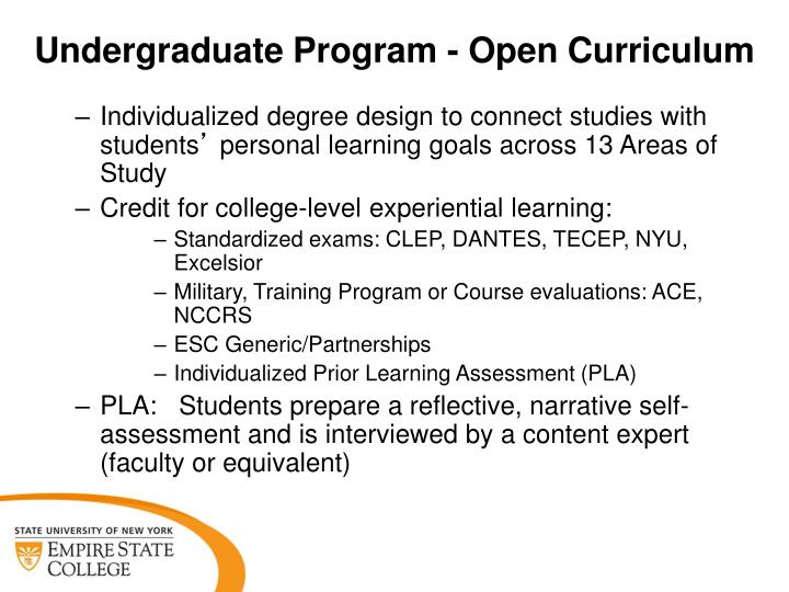 Undergraduate program open curriculum