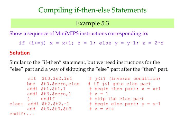 Compiling if-then-else Statements