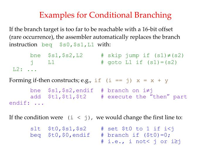 Examples for Conditional Branching