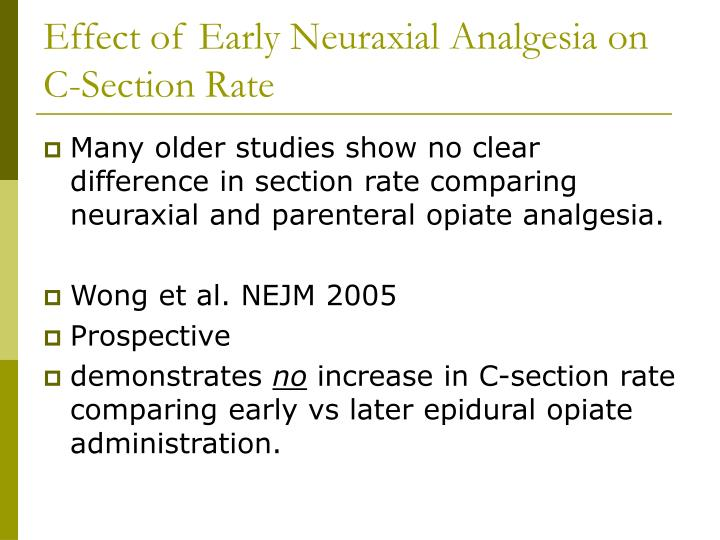 Effect of Early Neuraxial Analgesia on C-Section Rate