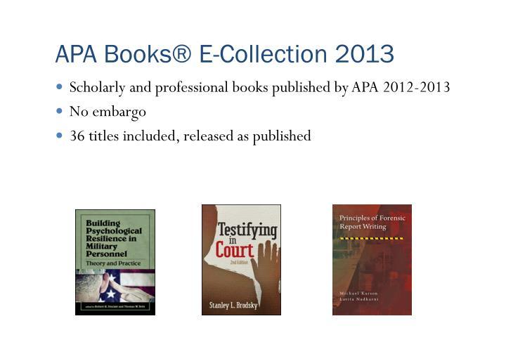 APA Books® E-Collection 2013
