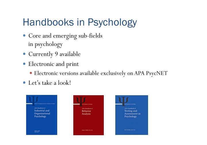 Handbooks in Psychology