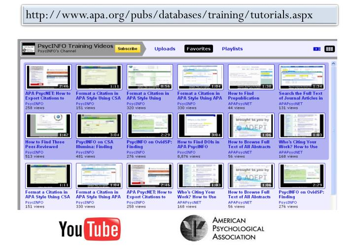 http://www.apa.org/pubs/databases/training/tutorials.aspx