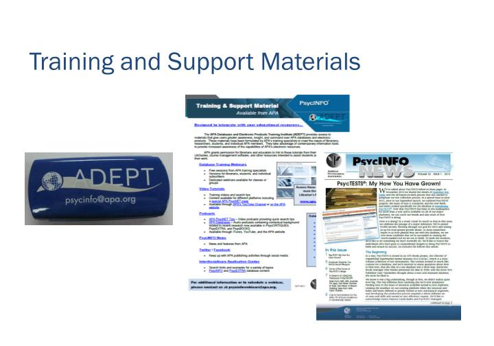 Training and Support Materials
