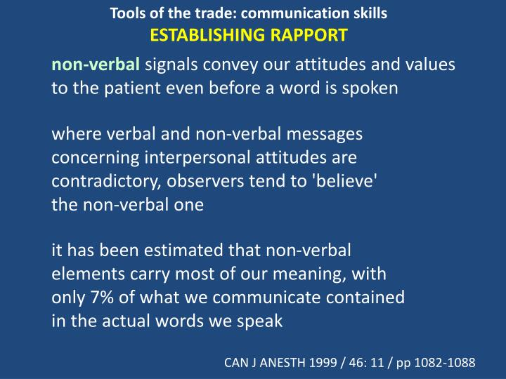 Tools of the trade: communication skills