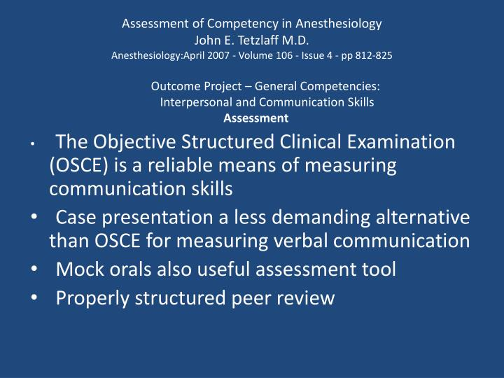 Assessment of Competency in Anesthesiology