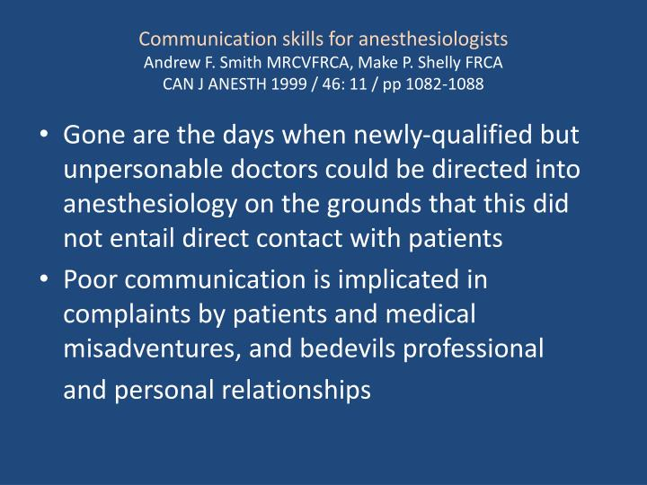 Communication skills for anesthesiologists