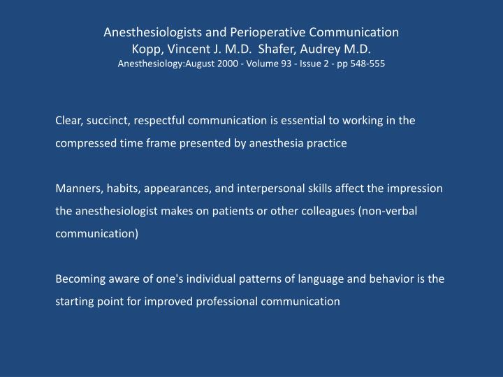 Anesthesiologists and Perioperative Communication