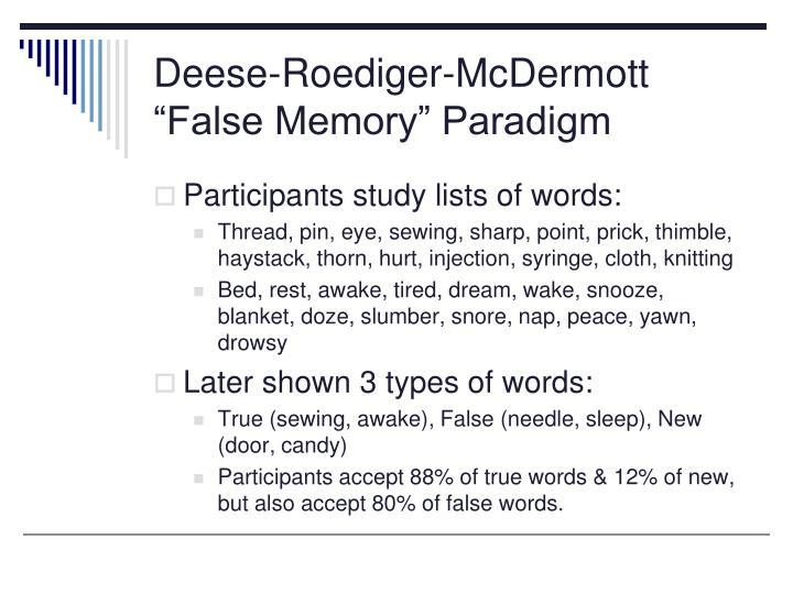 "Deese-Roediger-McDermott ""False Memory"" Paradigm"