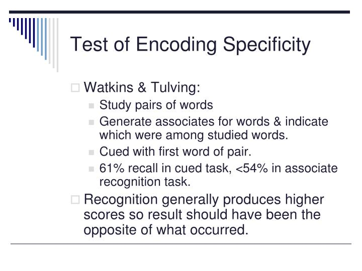 Test of Encoding Specificity