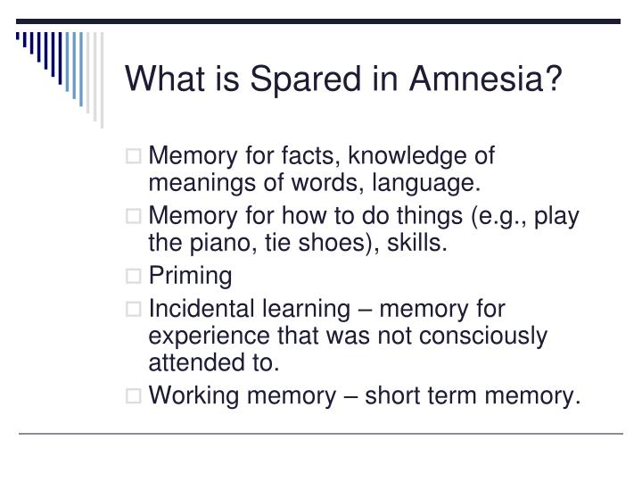 What is Spared in Amnesia?