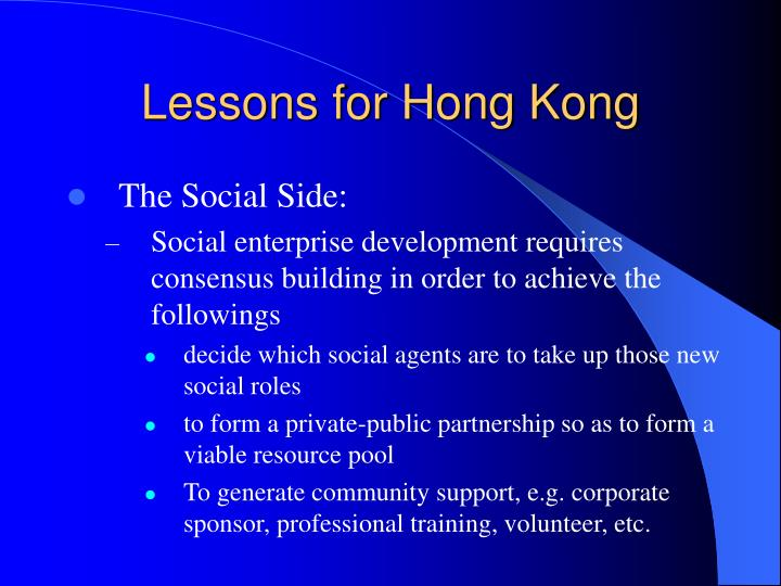 Lessons for Hong Kong