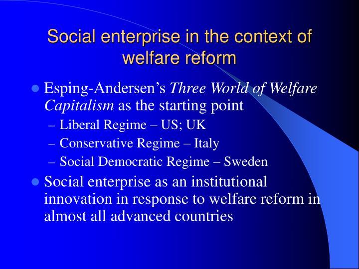 Social enterprise in the context of welfare reform