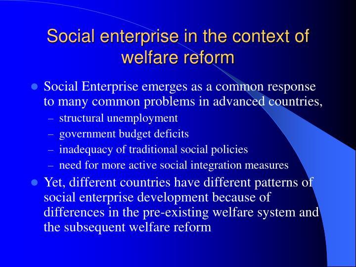 Social enterprise in the context of welfare reform1
