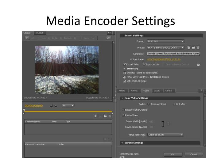 Media Encoder Settings
