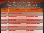 session dates for the flip camcorder cohort