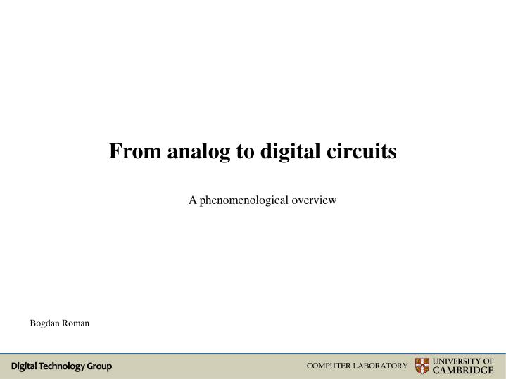from analog to digital circuits n.
