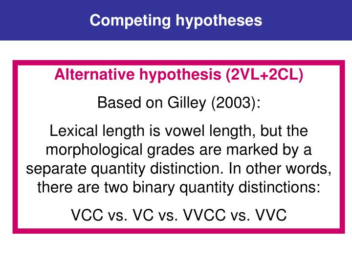 Competing hypotheses