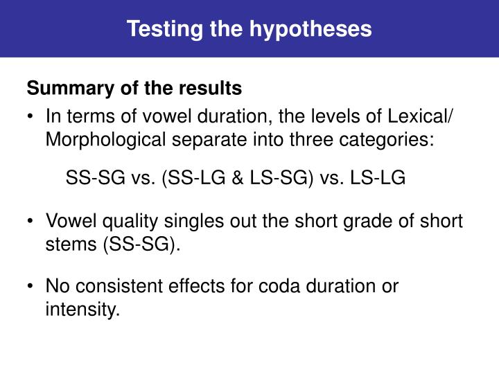 Testing the hypotheses