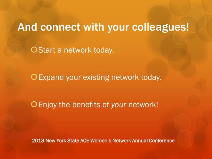 And connect with your colleagues!