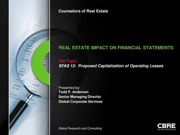Real estate impact on financial statements