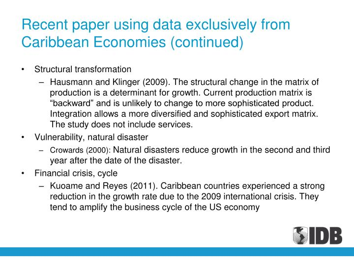 Recent paper using data exclusively from Caribbean Economies (continued)