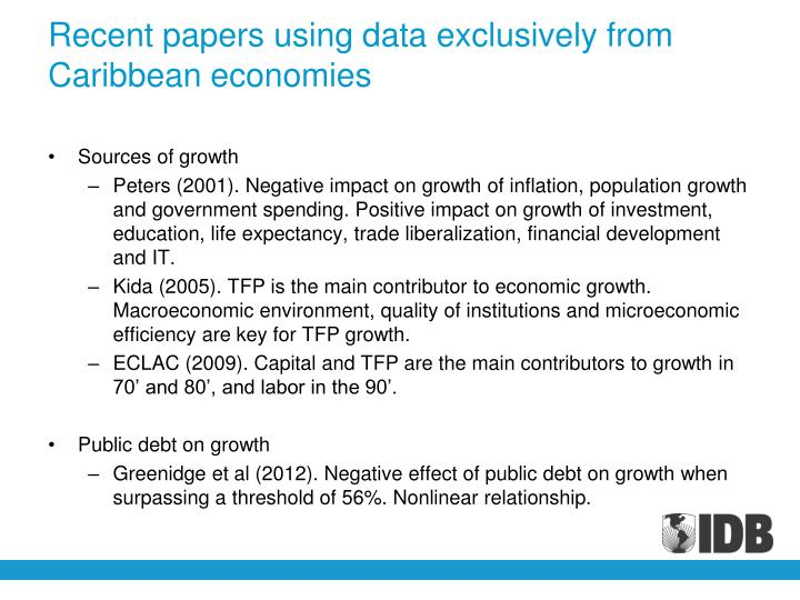 Recent papers using data exclusively from Caribbean economies