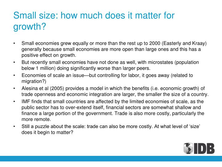 Small size: how much does it matter for growth?